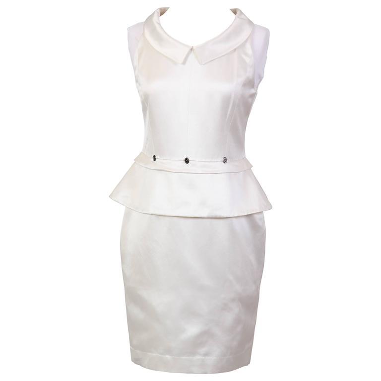 Karl Lagerfeld White Satin Dress