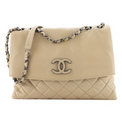 Chanel Hamptons Foldover Flap Bag Quilted Calfskin Medium