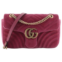 Gucci Marmont Velvet Flap Bag Small Rose