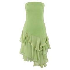 """ALEXANDER McQUEEN S/S 1996 """"The Hunger"""" Green Asymmetric Strapless Ruffle Dress"""