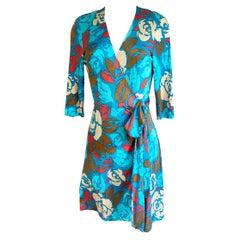 Silk Jersey Lake Blue Rose print wrap dress FLORA KUNG