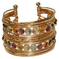 Pate de Verre and Gold Wire Thread Cuff