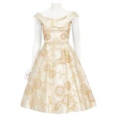 Vintage 1950's Ceil Chapman Ivory Satin Rhinestone Beaded Metallic Ribbon Dress