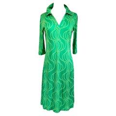 Green on green wave dots silk jersey polo dress FLORA KUNG