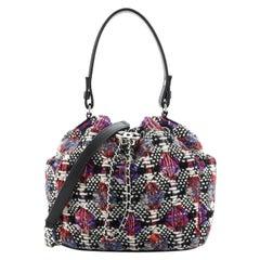 Chanel Drawstring Bucket Bag Tweed Small