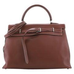 Hermes Kelly Flat Handbag Rouge H Swift with Palladium Hardware 35