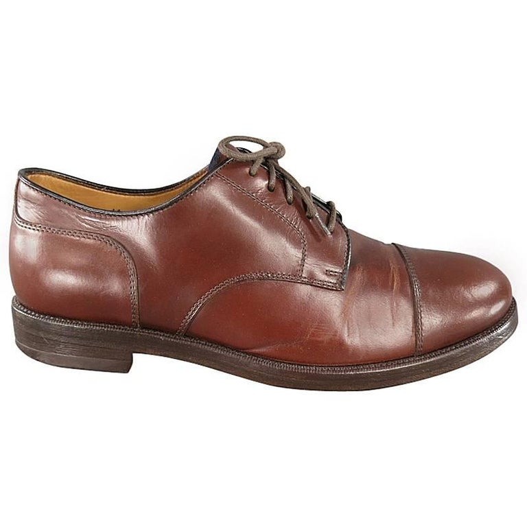 BRUNELLO CUCINELLI Size 8 Brown Leather Cap-toe Lace Up For Sale