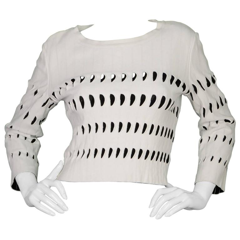 Alaia White & Black Cut-Out Cropped Top sz 44 1