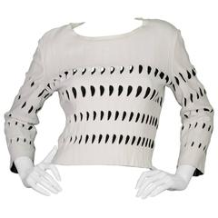 Alaia White & Black Cut-Out Cropped Top sz 44