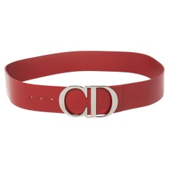 Dior Red Smooth Leather CD Logo Waist Belt 90 CM