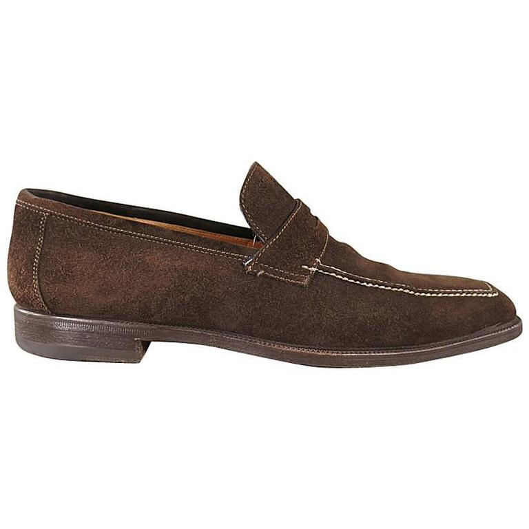 SUTOR MANTELLASSI Size 8 Brown Suede Penny Loafers 1