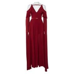 Elie Saab Burgundy Silk Cape Sleeve Detail Cold Shoulder Belted Ruffled Gown XS
