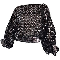 Vintage Jeanette Kastenberg 1980s St Martin Black Silver Sequin 80s Silk Blouse