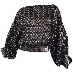 Vintage Jeanette Kastenberg for St. Martin Black + Silver Sequin Silk Blouse
