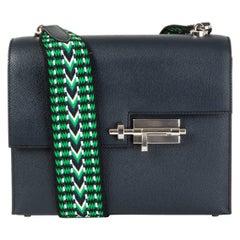 HERMES blue Nuit Epsom leather VERROU 21 STRAP Shoulder Bag