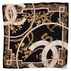 Chanel Black & Multicolor CC Print Silk Scarf