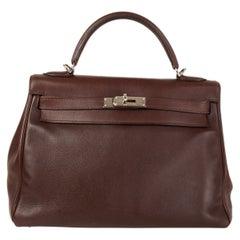 HERMES Havane brown Swift leather KELLY 32 RETOURNE Bag Palladium