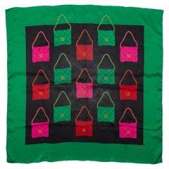 Chanel Green & Multicolor Handbag Print Silk Scarf