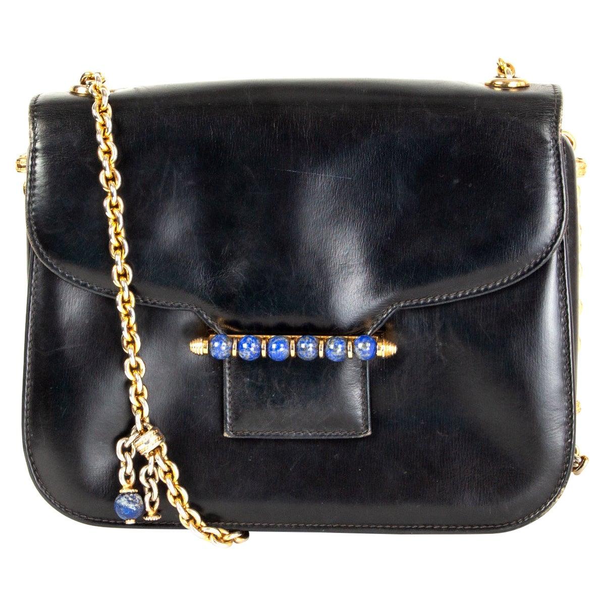 GUCCI black leather LAPIS EMBELLISHED VINTAGE Shoulder Bag