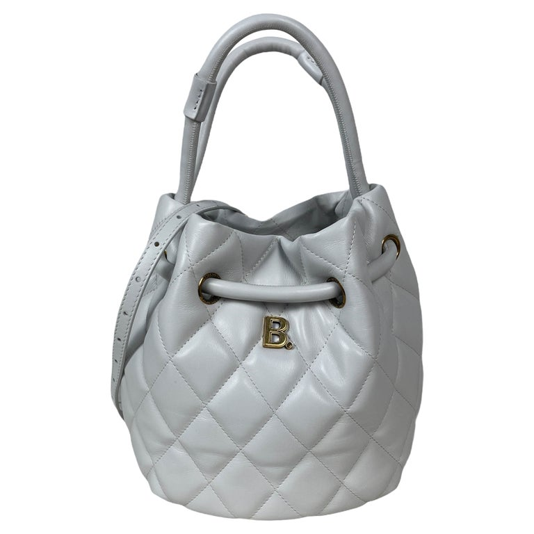 Balenciaga White Calfskin Leather B Dot Quilted Crossbody Bucket Bag For Sale