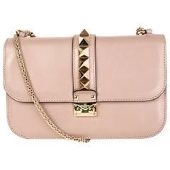 VALENTINO powder pink leather ROCKSTUD GLAM LOCK MEDIUM Shoulder Bag
