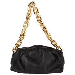 BOTTEGA VENETA black leather CHAIN POUCH Shoulder Bag