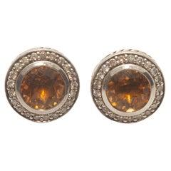 David Yurman Citrine & Diamond Sterling Silver Stud Earrings