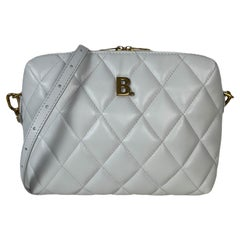 Balenciaga White Nappa Calfskin Leather B Dot Quilted Camera Crossbody Bag