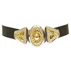 Alexis Kirk Black Leather Snakeskin Belt with Gold Plated Silver Plated Buckle