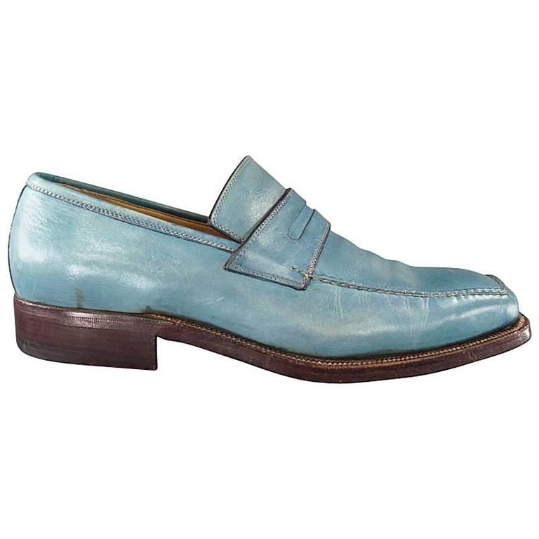 SUTOR MANTELLASSI Size 7.5 Men's Washed Blue Leather Penny Loafers