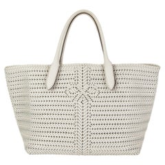 ANYA HINDMARCH white woven leather NEESON Tote Bag