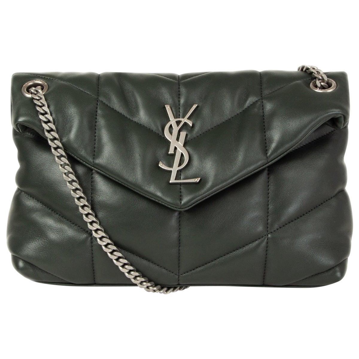 SAINT LAURENT forest green leather SMALL PUFFER Shoulder Bag