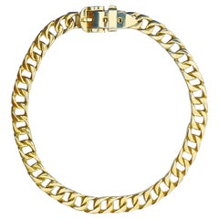 Gold Plated Heavy Adjustable Curb Link Chain Buckle Belt circa 1980s