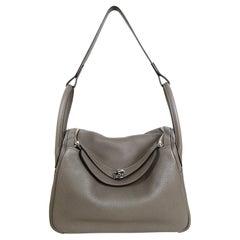 Hermes 2020 Etain Grey Taurillon Clemence Leather Lindy 30 Shoulder Bag