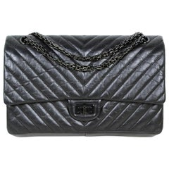Chanel So Black Calfskin Leather Quilted 2.55 Reissue 226 Classic Flap Bag