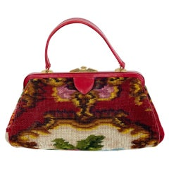 Koret Roses Frame Carpet Bag Rare 1960s Leather Interior Handbag
