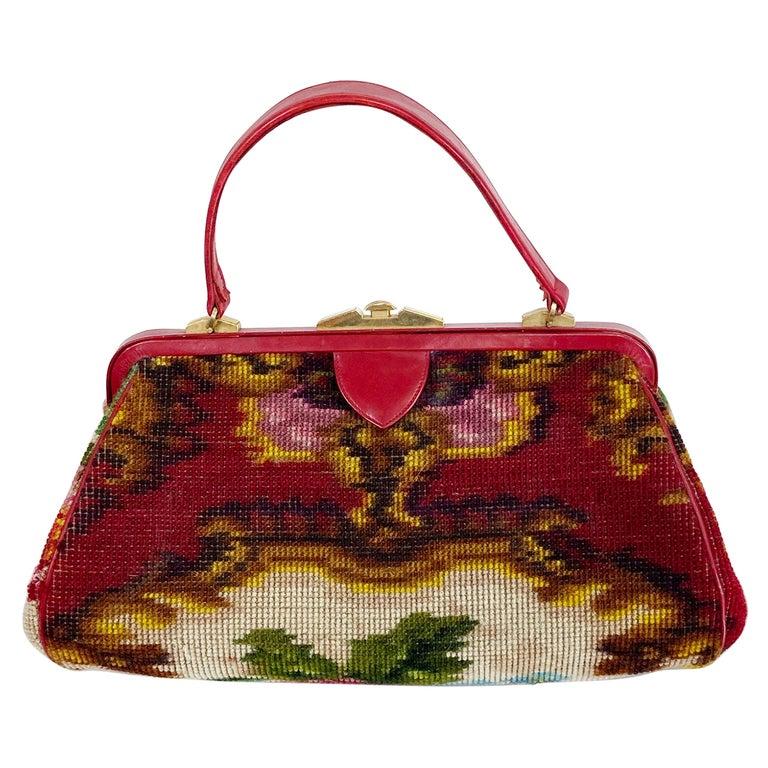 Koret Roses Frame Carpet Bag Rare 1960s Leather Interior Handbag For Sale