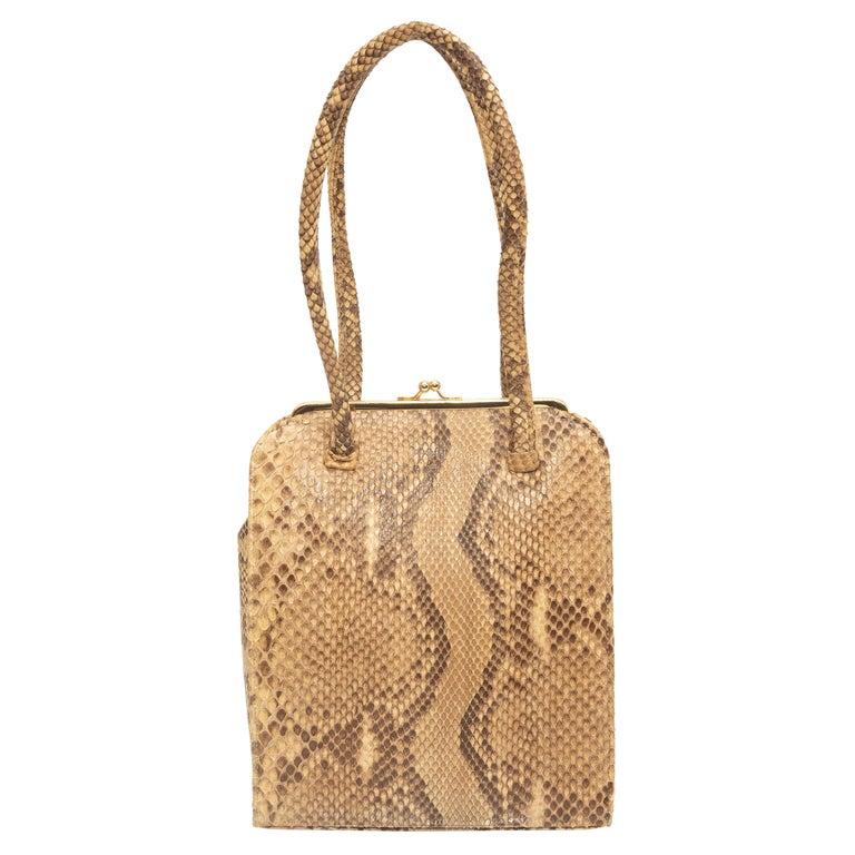 Anya Hindmarch Beige & Black Python Handbag