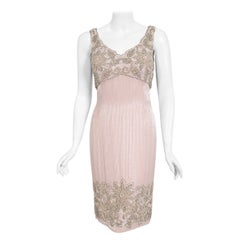 Vintage 1960's Helen Rose Couture Fully-Beaded Blush Pink Silk Hourglass Dress