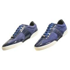 NEW DARK BLUE SUEDE LEATHER SNEAKERS w/PATENT LEATHER DETAILS 40 - 7