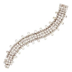 Crystal Cocktail Bracelet With Navette Accents By Weiss, 1950s