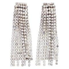 "3"" Crystal Rhinestone Fringe Earrings, 1950s"