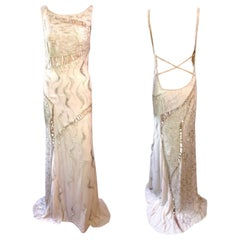 Atelier Versace Couture F/W 1998 Runway Embellished Sheer Cutout Gown Maxi Dress