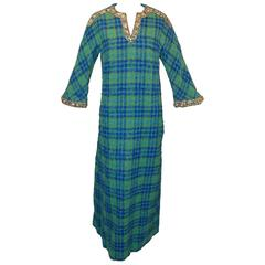 1960's Bob Bugnand Couture Plaid Kaftan Dress With Beads & Rhinestones