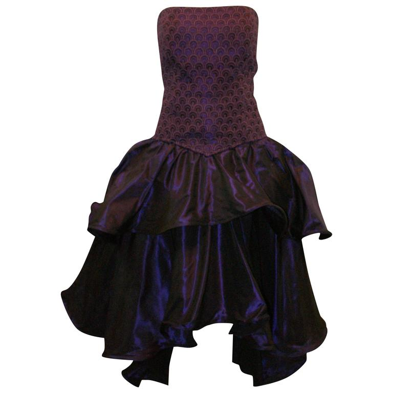 1980's Odicini Couture Purple Mauve Peacock Lace Ruffle Strapless Dress  For Sale
