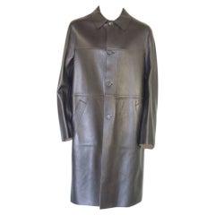 Prada Men's Black Leather Trench Coat
