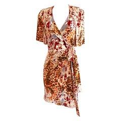 Silk Jersey 'jungle spots' wrap dress FLORA KUNG