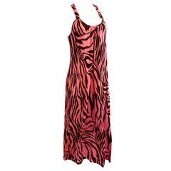 Pink brown print silk jersey boho maxi dress with pockets -  Flora Kung