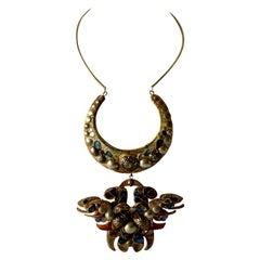 Monumental Vintage French Artisan Iridescent Talosel Statement Necklace