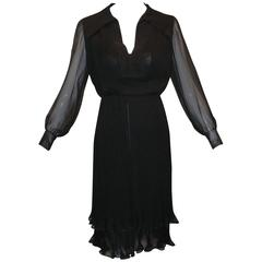 A/W 1973 Christian Dior Haute Couture Pleats Black Silk Blouse & Skirt Ensemble
